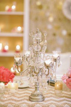 candelabra centerpieces champagne silver.