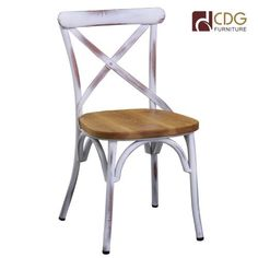 Commercial restaurant metal dining wooden coffee shop chair-- metal cross back dinning chair with wooden seat-- strong & durable