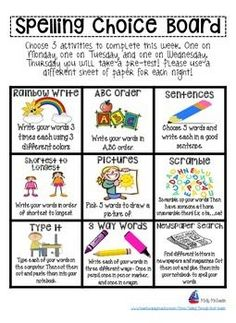 Spelling Choice Board by Teaching Down by the Bay Spelling Word Activities, Spelling Word Practice, Spelling Centers, First Grade Spelling, Spelling Homework, Word Work Centers, Word Work Activities, First Grade Reading, Vocabulary Activities