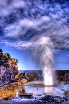"""Nakalele Blowhole"" ~ Photo by EncinoMan on Flickr. - The Nakalele blowhole of northwest Maui can shoot 70 feet into the air every four seconds during high tide."