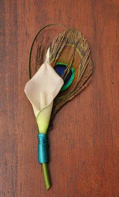 calla lily and peacock boutonniere - Google Search