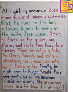 Shared Writing - Snowmen at Night we should do this for in the winter theme @Emmeretta Russey