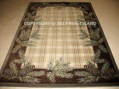 8x11 Lodge Cabin Rustic Pine Cone Plaid Brown Green Decor Area Rug