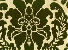 Prague Flock Damask - Olive Green on Sueded Gold  [Flock-2900] Classic Velvet Damask Wallpapers | DesignerWallcoverings.com ™ - Your One Stop Showroom for Custom, Natural, & Specialty Wallcoverings | Largest Selection of Wall Papers | World Wide Showroom | Wallpaper Printers