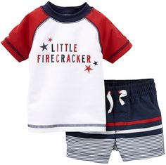 Carter's 2 Piece 4th of July Swim Set (Baby) - White-9 Months