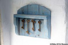Wooden Key Hook - Holder - Rack - Hanger / Blue Shabby Chic Finish