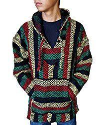 El Paso Designs (TM) Classic Mexican Baja Hoodie Pullover Poncho