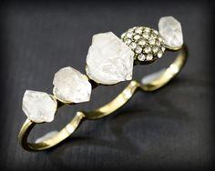 RAW HERKIMER DIAMOND Triple Ring