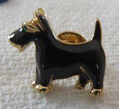 "Vintage gold tone Scottie dog tie tac lapel pin brooch black enamel . With green rhinestone eye. .8"", $4"