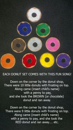 10 Little Donuts Felt Board Story // Flannel Board // Pretend Play // Quiet Time // Matching // Colors Preschool Colors, Preschool Music, Preschool Classroom, Preschool Learning, Preschool Activities, Teaching, Learning Time, Flannel Board Stories, Felt Board Stories