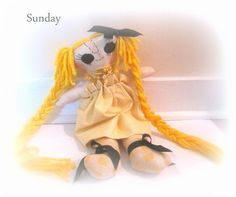 Cloth handmade doll, Sunday by janeylaughs on Etsy