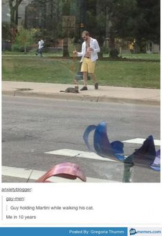 Man walking cat with martini
