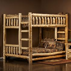 The Cedar Lake Queen over Queen Log Bunk Bed is constructed from hand peeled, Norther White Cedar logs. This rustic log bunk bed is not only beautiful, but built to last for generations to come!