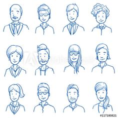 Set of various happy men and women in business clothes, mixed age expressing positive emotions. Hand drawn line art cartoon vector illustration. - Buy this stock vector and explore similar vectors at Adobe Stock Man Illustration, Illustrations, Digital Illustration, What Is Clip Art, Business Outfits, Business Clothes, Cartoon Silhouette, Clipart Gallery, Animated Clipart