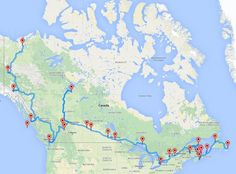 Now this is a road trip. Behold the ultimate cross-Canada journey according to an algorithm devised by Randy Olson, a computer science PhD candidate at Michigan State University. Canada Winter, Canada Day, Canada Trip, Oh The Places You'll Go, Places To Travel, Travel Destinations, Vancouver, Quebec, Ontario