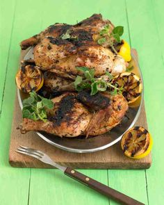 Savor the sunny flavors of the Mediterranean when you marinate halved chickens in chopped fresh oregano, lemon zest, and freshly squeezed lemon juice. To achieve perfectly grilled chicken, cook it over medium heat and move to a cooler part of the grill if the outside is browning too quickly.