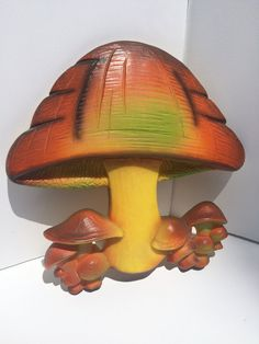 Vintage Mushroom Plastic Wall Plaque Decor, Decoration, Wall Hanging, Psychedelic, Magic Mushroom