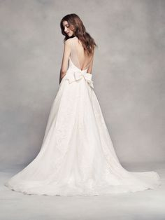 Back to Basics: How to Buy a Wedding Dress | White by Vera Wang Pleated V-Neck Wedding Dress.