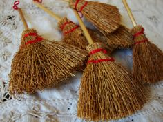 """Mini brooms 3"""" natural straw brooms craft supplies for fall halloween supplies witches brooms"""