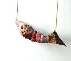 Fish necklace fiber art jewelry nautical by BozenaWojtaszek, $48.00