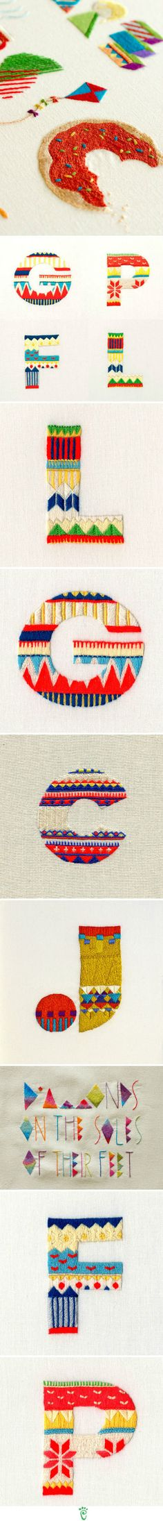 Embroidered letters; delicious.