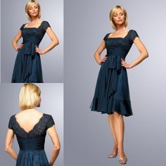 Navy Blue Lace Chiffon Plus Size Mother Of The Bride Dresses Square Neckline Short Sleeves Ruffled Pleated Open Back Knee Length Bridal Gown