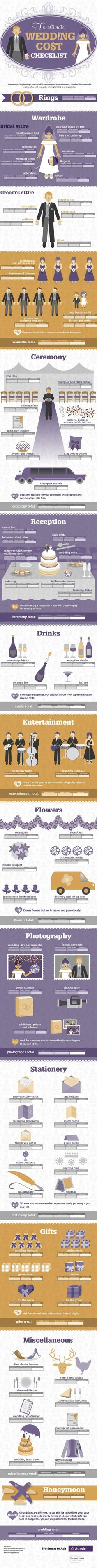 Ultimate Wedding Cost Checklist Infographic The Ultimate Wedding Cost Checklist Infographic. A really awesome starting place!The Ultimate Wedding Cost Checklist Infographic. A really awesome starting place! Wedding Costs, Budget Wedding, Wedding Tips, Wedding Blog, Diy Wedding, Wedding Photos, Wedding Details, Wedding Timeline, Wedding Games