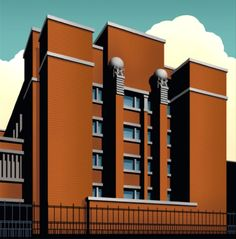 Image above: Detail of poster of the Larkin Building, in Buffalo, New York, designed by Frank Lloyd Wright in 1904.