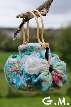 Different shape.   Handbag Felted Bag - Wool Hand Bags , Felted Wool Purse,Wet Felted Bags, Turquoise Bag.
