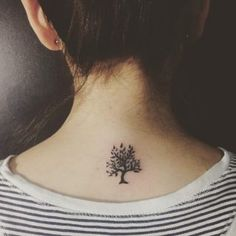 small tree tattoo on back