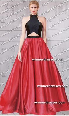 418f12b129 fabulous halter neckline cutout detail mock two piece ballgown mikado dress  color block two piece dress