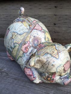 Your place to buy and sell all things handmade Antique World Map, Old World Maps, World Map Design, Piggy Banks, Etsy Shop, Ceramics, Christmas Ornaments, Antiques, Gifts