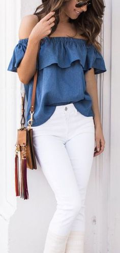 Chambray off the shoulder + white denim.