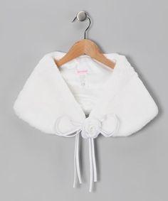 White Faux Fur Shawl & Flower Pin - Toddler & Girls