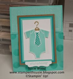 Stampin' Up!- A flip up baby card using- 'Something for Baby'  '@SoSocial' new stamp sets!