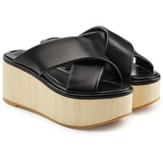 Robert Clergerie Leather Platform Sandals (4.320 ARS) ❤ liked on Polyvore featuring shoes, sandals, black, slip on shoes, black summer sandals, leather platform sandals, leather sandals and leather slip-on shoes