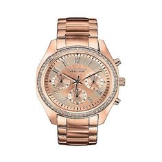Caravelle New York by Bulova Women's Chronograph Rose Gold-Tone... ($101) ❤ liked on Polyvore featuring jewelry, watches, gold, caravelle by bulova watches, buckle jewelry, chronograph wrist watch, chronograph watches and stainless steel chronograph watch