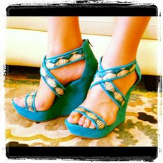 Have you seen these Gorgeous babies yet? Teal wedges at Material Girls Hattiesburg location 601-336-6123  www.shopmaterialgirls.com