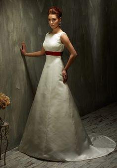 Elegantes puristisches A-Linien Brautkleid im Trapez-Schnitt aus Satin und Taft in Elfenbein und Weiß - von Lisa Donetti