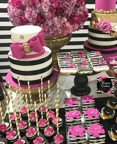 Kate Spade inspired party Kate Spade Cakes, Kate Spade Party, Kate Spade Bridal, 50th Birthday Party, 30th Birthday Cupcakes, Barbie Party, Bridal Shower Party, Festa Flamingo, Sweet 16