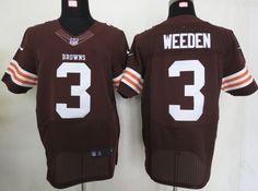 Cleveland Browns 3 Brandon Weeden Elite Browns NFL Jersey