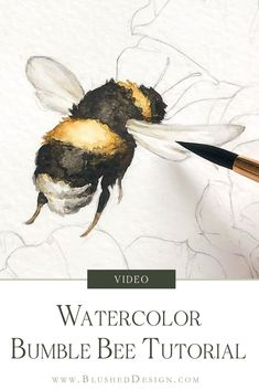 Part 3 of our realistic bumblebee series! Today we're diving into a realistic watercolor bumblebee! This painting really isn't difficult at all, but the result is really impressive—which is my favorite kind of art tutorial! Watercolor Flowers Tutorial, Butterfly Watercolor, Watercolour Tutorials, Watercolor Illustration Tutorial, How To Watercolor, Watercolor Artists, Flower Tutorial, Watercolor Peony, Watercolor Tutorial Beginner