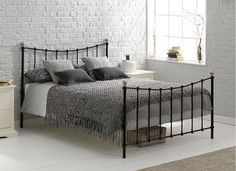 Finished in a contemporary, sleek black, our Jasmine metal bed frame is a beautifully-crafted bed, making a welcome addition to any bedroom King Metal Bed, Metal Beds, Bedroom 2017, Bedroom Sets, Bedrooms, Master Bedroom, Steel Bed Design, Black Metal Bed Frame, Bedroom Furniture