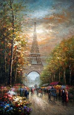 A vintage portrayal of Paris by Thomas Kinkade. Thomas Kinkade Art, Eiffel Tower Painting, Kinkade Paintings, Thomas Kincaid, Art Thomas, Paris Art, Beautiful Paintings, Amazing Art, Awesome
