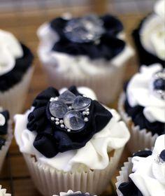 Ruffled rosettes with edible diamonds cupcakes