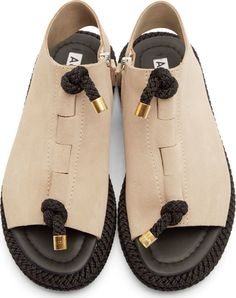 Acne Studios Beige & Black Corda Sandals