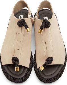 Acne Studios Beige & Black Corda Sandals