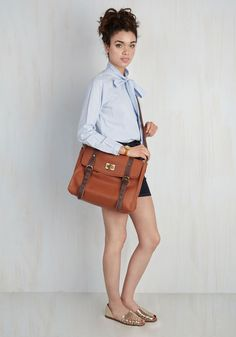 Play in the Ivy Leagues Bag in Chestnut. Illustrate your hard-earned education and chic stylings by toting this vegan faux-leather satchel! #brown #modcloth