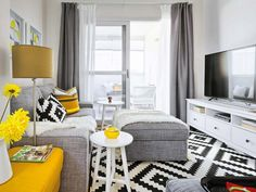 Vivacious Malaga Apartment Design With IKEA Furniture And Juicy Accents Small Living Rooms, Living Dining Room, Living Room Designs, Home Living Room, Apartment Design, Yellow Living Room, Grey And Yellow Living Room, Apartment Decor, Home Deco