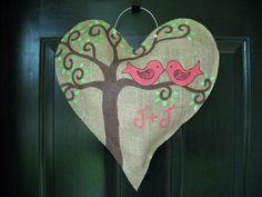 Burlap Heart Door Hanger with Love Birds- Customizable Burlap Projects, Burlap Crafts, Wood Crafts, Craft Projects, Craft Ideas, My Funny Valentine, Valentine Crafts, Burlap Door Hangings, Cute Crafts